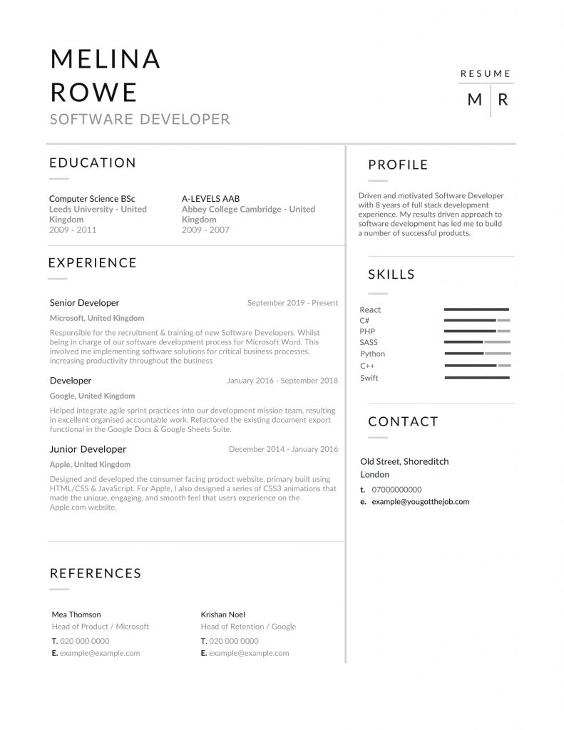 Example-Software-Developer-CV-1